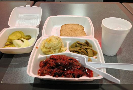 Take-out in polystyrene containers