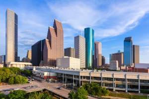 Houston Skyline North view aerial in Texas US USA