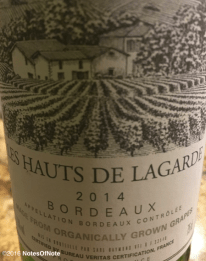 2014 Les Hauts De Lagarde Bordeaux White, Bordeaux, France.