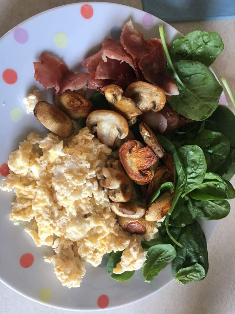 Mushroom, Eggs, Bacon and Spinach