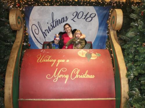 Me and the twins in Santa's sleigh