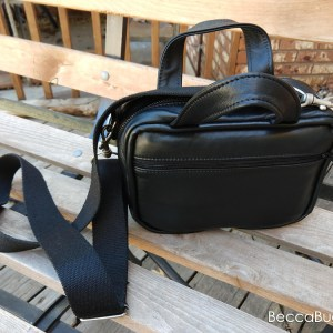 Black Leather Scripture Bag | BeccaBug.com