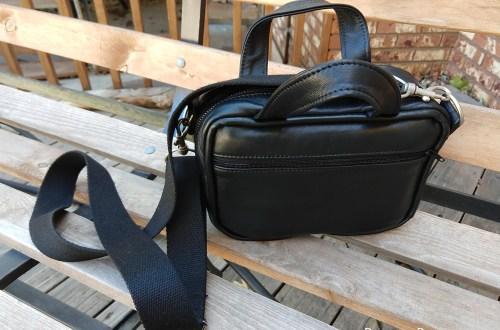Black Leather Scripture Bag | BeccaBug.com