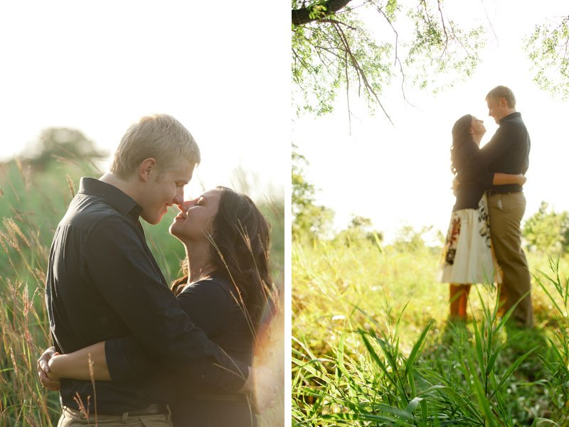 minneapolis summer engagement photos kissing in the tall grass