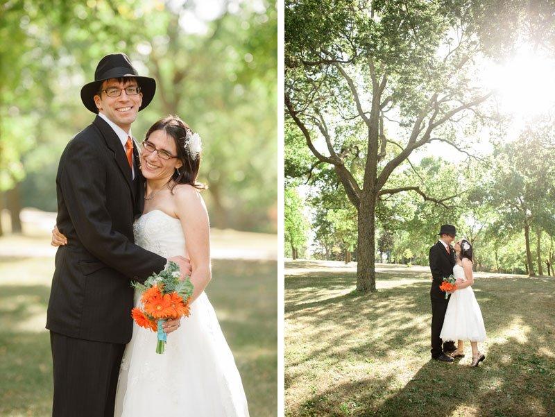 bride and groom under trees at Lake Hiawatha for Minneapolis wedding