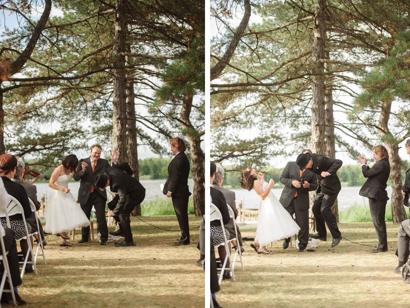 Groom jumps on glass to break it after ceremony at Lake Hiawatha in South Minneapolis