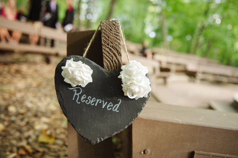 reserved chalkboard sign wedding at Woods Chapel Orono MN