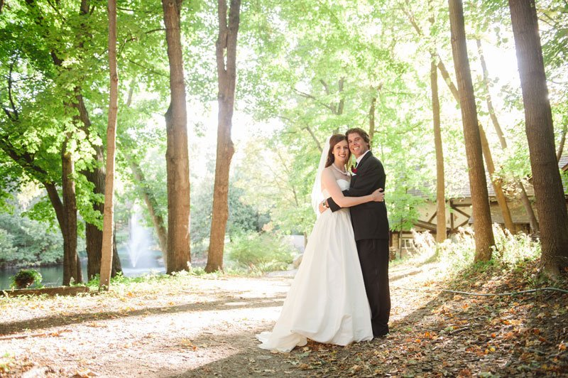 Bride and groom at wedding at Woods Chapel Orono MN