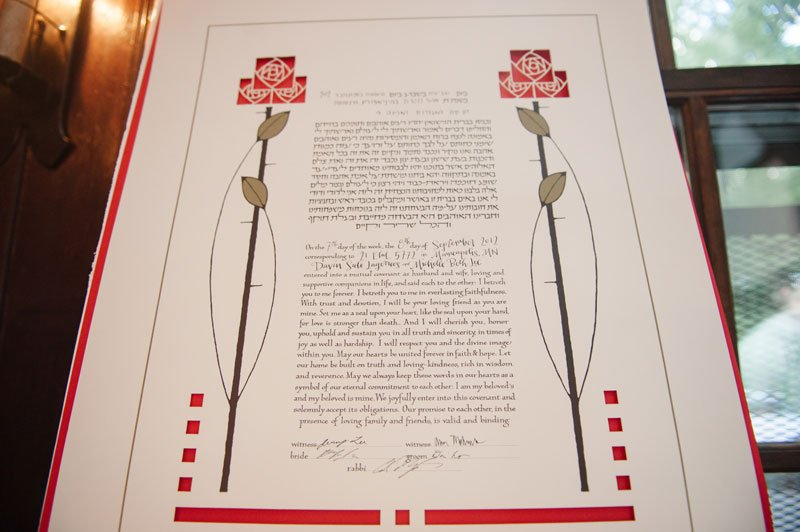 Detail of Ketubah for wedding at Theadore Wirth Park Chalet Minneapolis