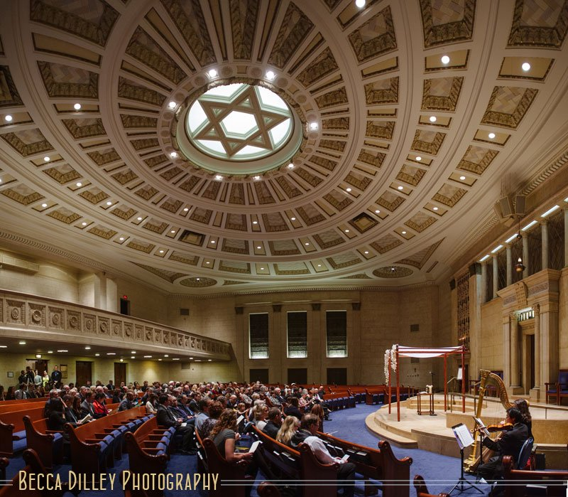 Interior of Temple Israel wedding ceremony with star of David ceiling