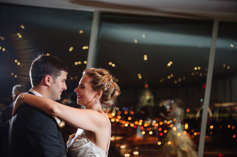 first dance with skyline in background at Walker Art Center wedding Minneapolis MN
