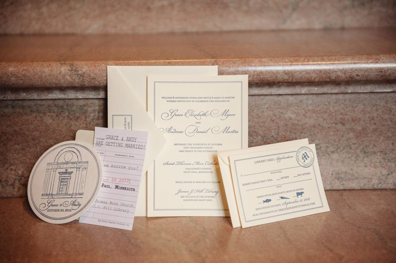 st paul mn wedding at jj hill library travel themed wedding invitation set
