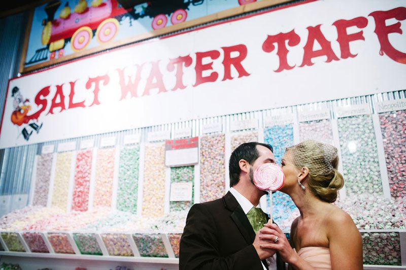 bride and groom in candy store in downtown Stillwater mn