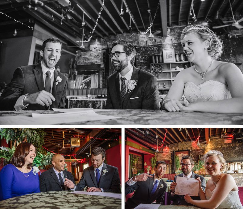 bride and groom laugh and sign marriage license loring pasta bar wedding minneapolis