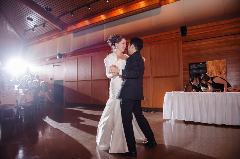 first dance at mn wedding at silverwood park center in winter