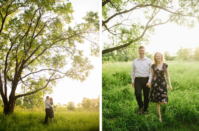 couple under large tree with summer light
