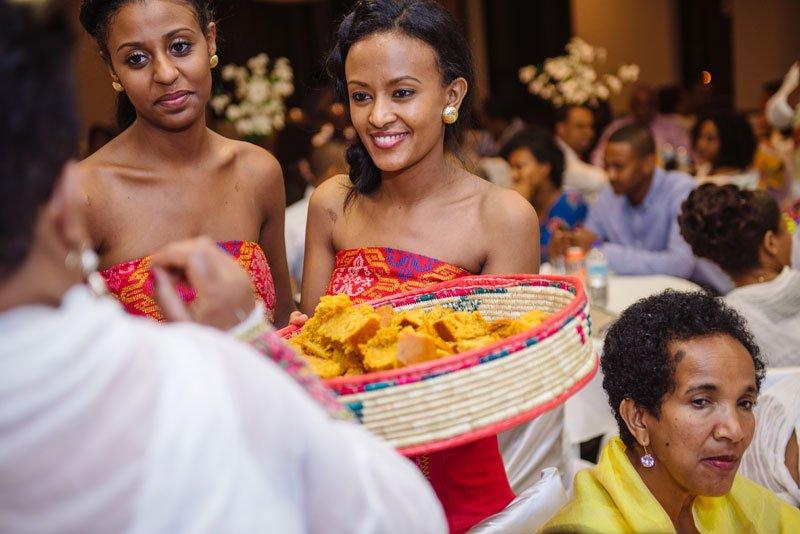 Ethiopian wedding serving bread