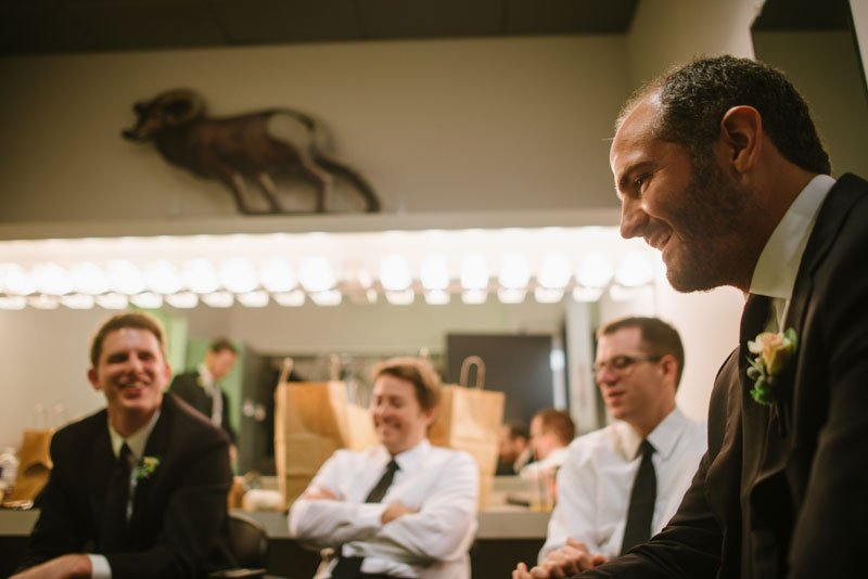 groomsmen hanging out before wedding ceremony Guthrie theater minneapolis mn