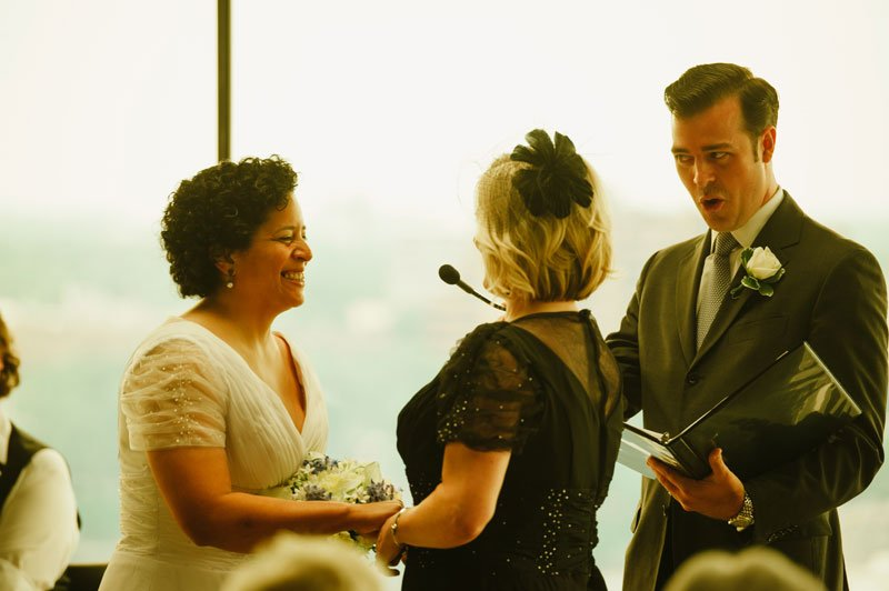 Guthrie theater wedding ceremony in yellow room