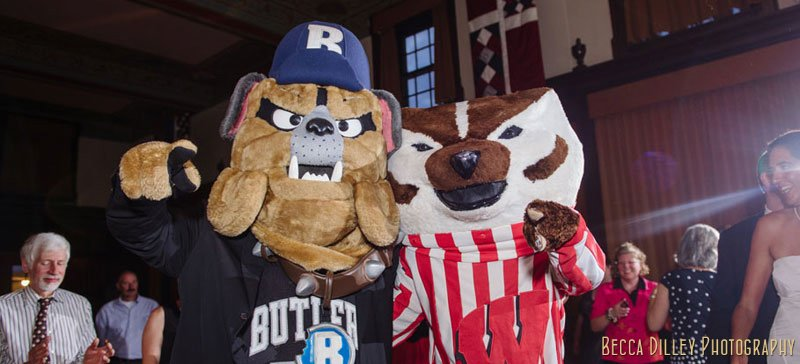 bucky badger mascot at memorial union tripp commons wedding madison wi