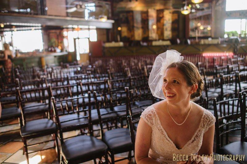 bride waiting before wedding ceremony at loring pasta bar minneapolis wedding