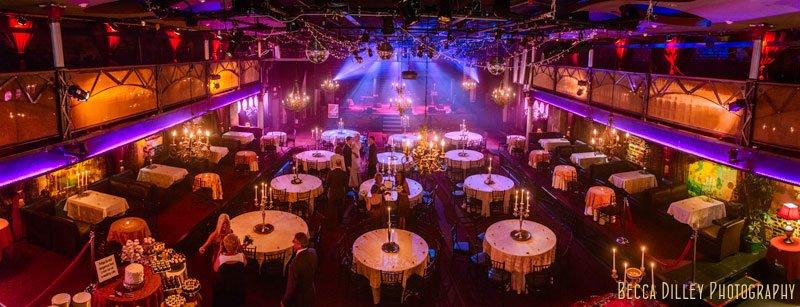 panorama of interior varsity theater minneapolis wedding