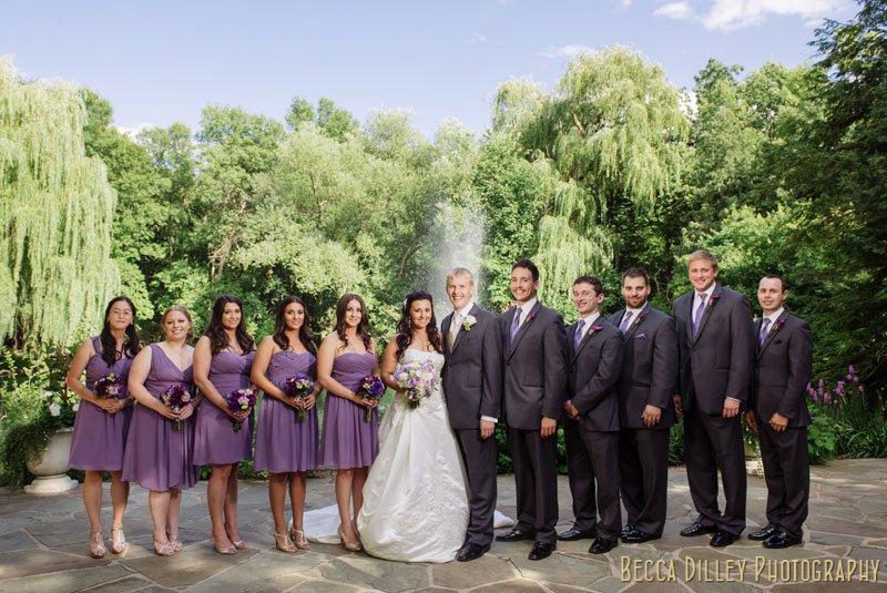 5 bridesmaids and 5 groomsmen at woods chapel wedding orono mn