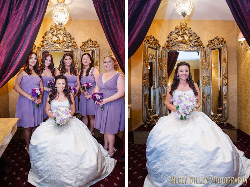 bride and bridesmaids in draped bathroom of st paul hotel wedding reception mn