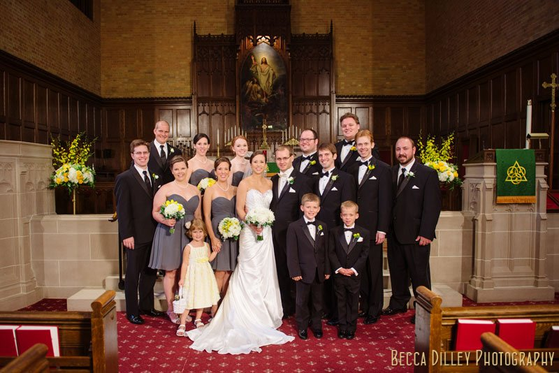 wedding party in grey and yellow at Bethlehem Lutheran Church wedding minneapolis mn