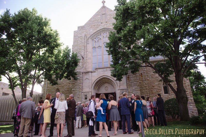 guests wait for exit at Bethlehem Lutheran Church wedding minneapolis mn
