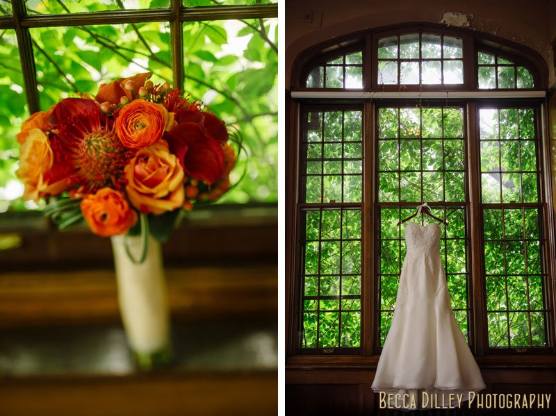 wedding dress hanging in window of st paul university club