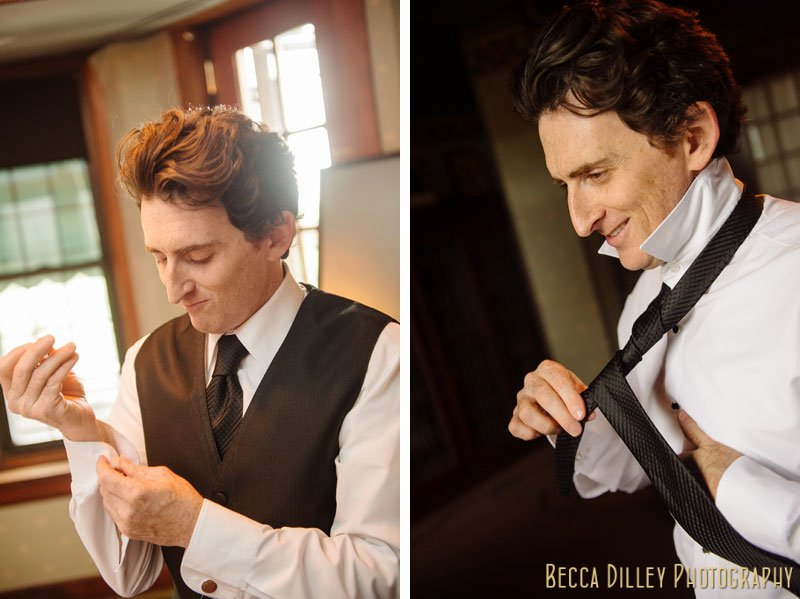 groom adjusting tie before wedding at st paul university club