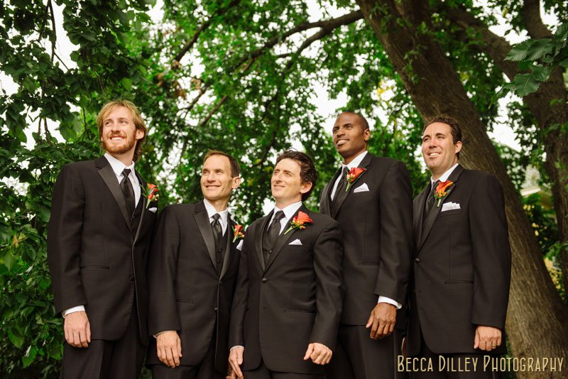 groom and 4 groomsmen at summit overlook park st paul