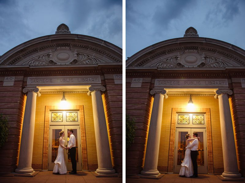 bride and groom at stillwater library wedding mn