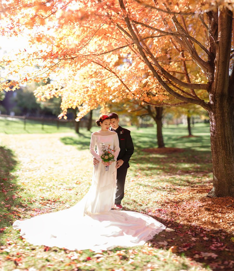 panorama of bride and groom under orange autumn leaves
