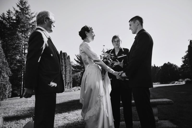 bride and groom have small wedding ceremony at arneson acres