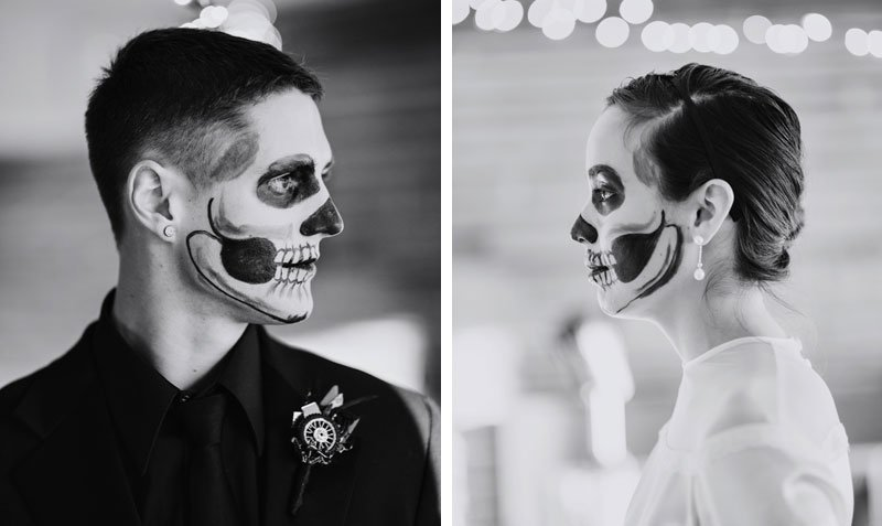 bride and groom with dia de los muertes face painting