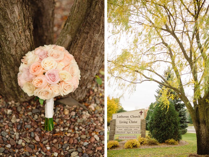 Madison fall wedding details with blush pink roses