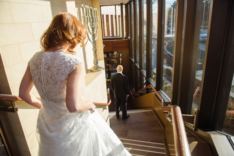 bride and groom see each other for the first time at Beth El Synagogue in St Louis Park MN