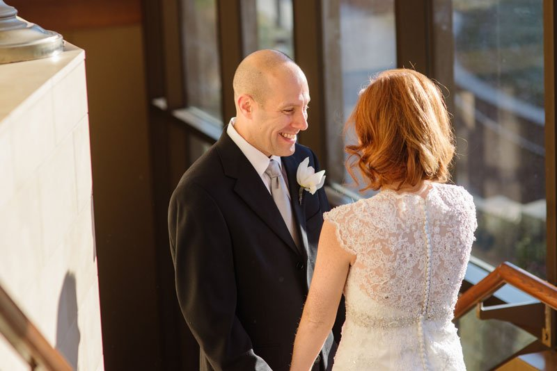 groom sees bride in dress for first time at Beth El Synagogue in St Louis Park MN