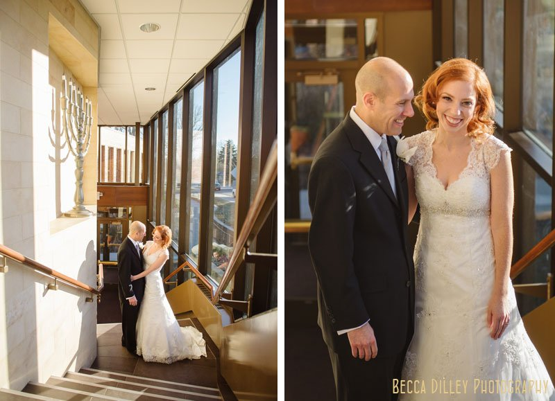 bride and groom before wedding at Beth El Synagogue in St Louis Park MN