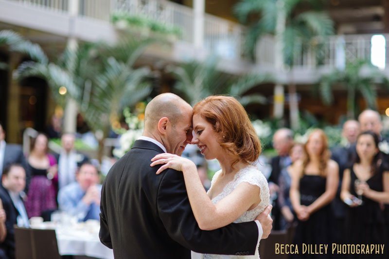 bride and groom during first dance at IMS Design Center wedding reception