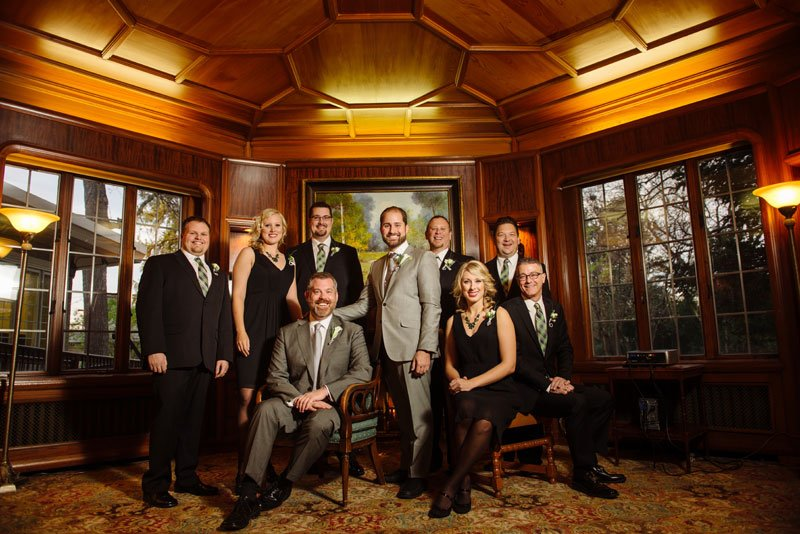 wedding party and two grooms before st paul college club wedding mn