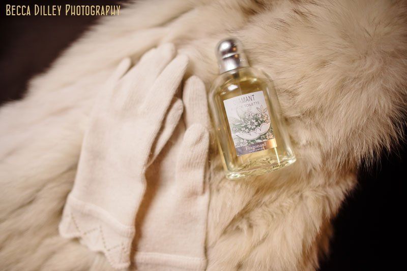 winter gloves, fur, and perfume for wedding at loring pasta bar dinkytown