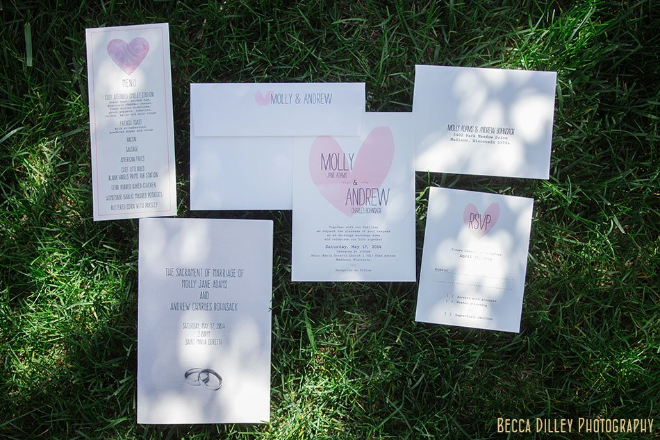 pink heart wedding invitation suite St Maria Goretti church wedding madison wi