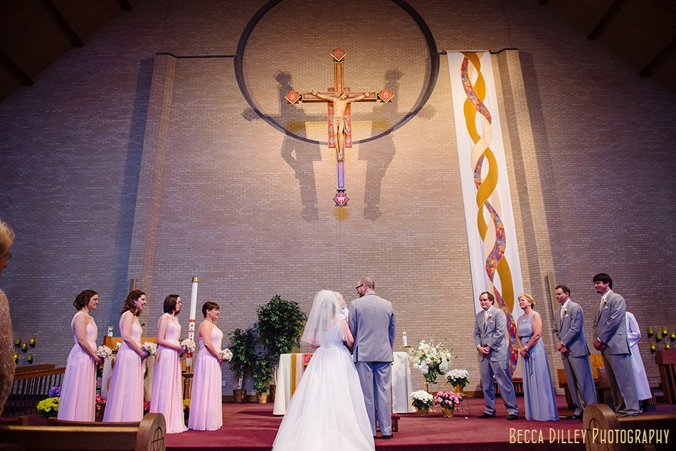 wedding ceremony at St Maria Goretti church wedding madison wi