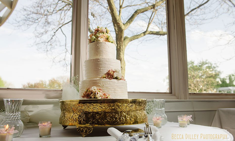 formal wedding cake with pink and gold at Windsor Country Club wedding Madison Wi