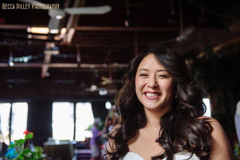 bride laughs at Loring Pasta Bar Minneapolis wedding