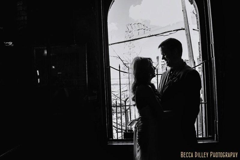 silhouette of bride and groom at Loring Pasta Bar Minneapolis wedding