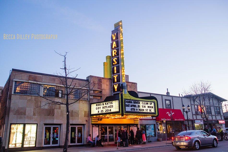 exterior of Varsity Theater wedding Minneapolis